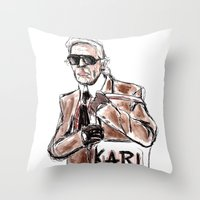 karl Throw Pillows featuring Karl who? by K A L L I