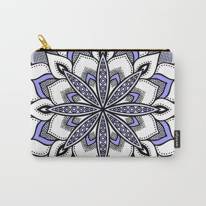 Periwinkle Flower Mandala Carry-All Pouch