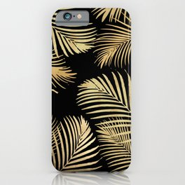 Gold Palm Leaves on Black iPhone Case
