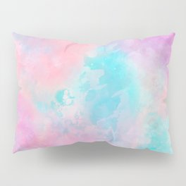 Bright pink turquoise unicorn watercolor paint background Pillow Sham