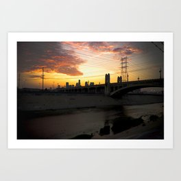 Los Angeles - Downtown Canal Sunset Art Print
