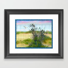 Plaid Beachscape with Seagrass Framed Art Print
