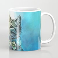 pie Mugs featuring Handsome Cat by Alice X. Zhang