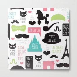 Vintage style Paris typography and illustration pattern Metal Print