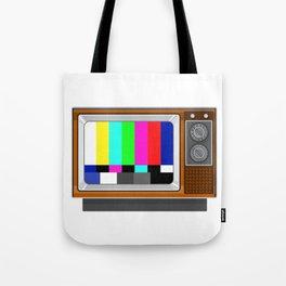 Retro Television Set TV Test Card Signal Pattern Tote Bag