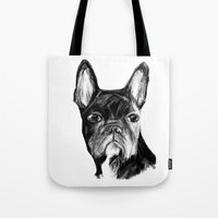 french Tote Bags featuring French Bulldog by James Peart