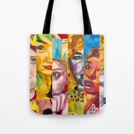 Female Faces Portrait Collage Design 1 Tote Bag