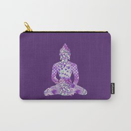 Buddha Vintage Floral Pattern Purple Carry-All Pouch