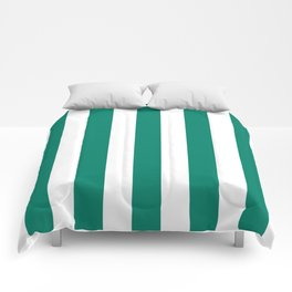 Generic viridian green - solid color - white vertical lines pattern Comforters