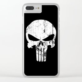 The Punisher Logo Black Background Clear iPhone Case