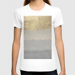 Geometrical ombre glacier gray gold watercolor T-shirt