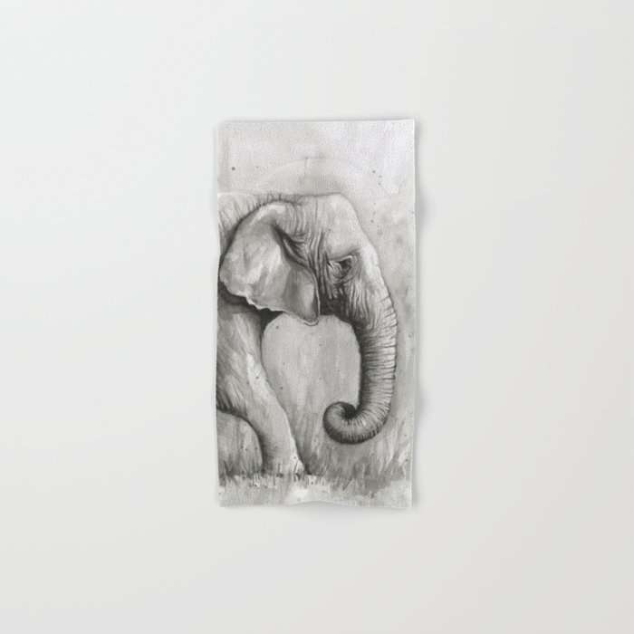 Elephant Black and White Watercolor Animals Hand & Bath Towel