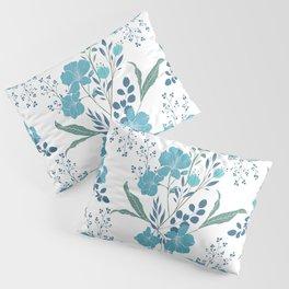 Blue Tropical Flower Transparent Pillow Sham