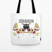 skyrim Tote Bags featuring Skyrim: The Dovahkiin - RED (Skyrim) by E_Nicholson