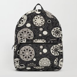 Hacienda Black and White round tile motif repeat print Backpack