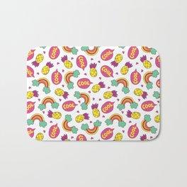 Modern colorful pineapple rainbow cool typography Bath Mat