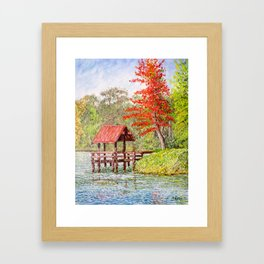 Red Roofed Pier at Autumn Framed Art Print