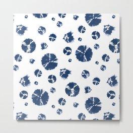 Shibori Polka Splotch Indigo Blue Metal Print