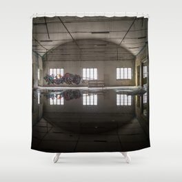 Interior of an abandoned factory Shower Curtain