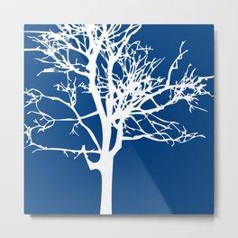 tree blue and white Metal Print