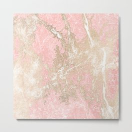 Modern coral pink white gold abstract marble Metal Print