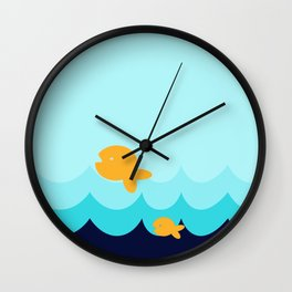 Beach Series Aqua- Gold Fish Animals in the deep Sea Wall Clock