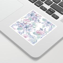 Pretty Blue Pink Succulents Garden Sticker