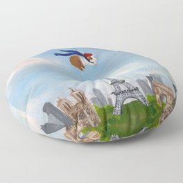 Guinea Pig With Balloon Over Paris, France Floor Pillow