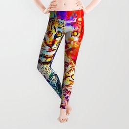 cat trio splatter watercolor colorful background Leggings