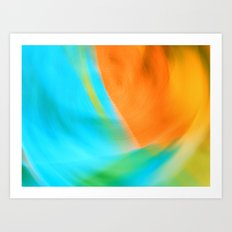 orange & turquoise (abstract) Art Print