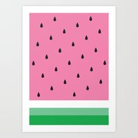 watermelon Art Prints featuring Watermelon by Anna Lindner