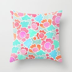 Pastel Tropical Floral Pattern Design with watercolor texture Throw Pillow