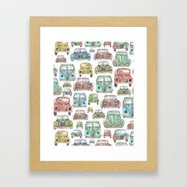 Classic Car Pattern Framed Art Print