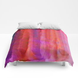 Striped Watercolor Art vibrant Red and Pink Comforters