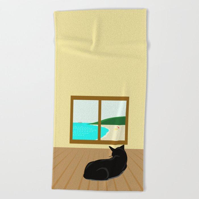 Landscape and cat Beach Towel