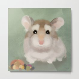 Harvest Hamster Metal Print