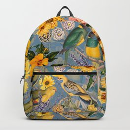 Vintage & Shabby Chic - Tropical Flower Jungle with Parrots Backpack