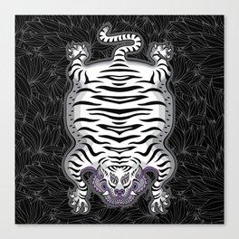 TIBETAN TIGER - WHITE (black) Canvas Print