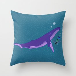 Electric Whales in a Polka Dot Sea Throw Pillow