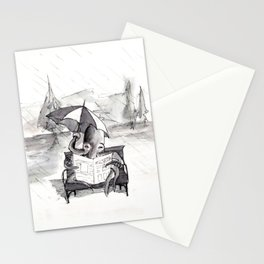 an octopus that walks on land part1 reading a newspaper in the rain Stationery Cards