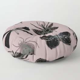 Entomology black and Antique Rose Floor Pillow