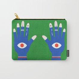 Palmistry Hamsa Hand Mystical Green Blue Art  Carry-All Pouch