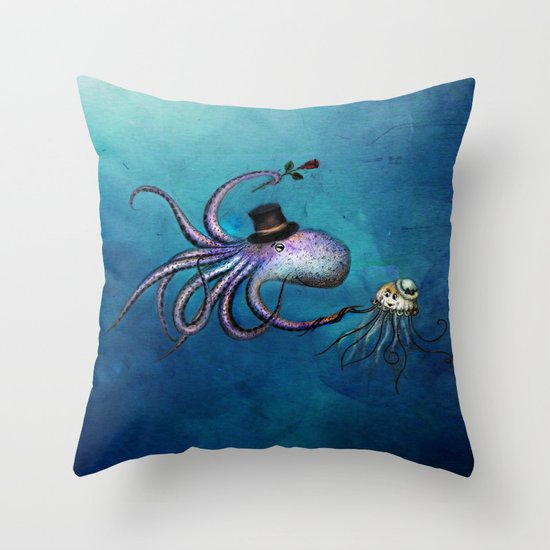 Underwater Love // octopus jellyfish Throw Pillow