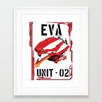 evangelion Framed Art Prints featuring Evangelion Unit 02 by Savinity