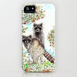 Raccoons in the Forest (color edition) iPhone Case