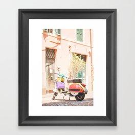 193. Multicolor Italian Scooter, Rome, Italy Framed Art Print