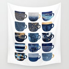 Pretty Blue Coffee Cups Wall Tapestry