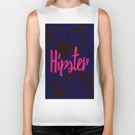 Hot Pink Hipster Typography on Black Blue Camo Biker Tank