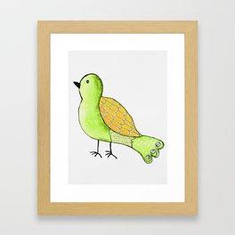 Watercolor Yellow and Green Folk Bird Framed Art Print