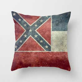 Mississippi State Flag in Distressed Grunge Throw Pillow
